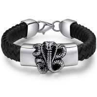 Stainless Steel Gothic Biker Cobra Snake Braided Leather Bracelet