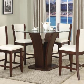 "5 pc Camelia espresso finish wood base and 54"" round glass top counter height dining table set with white chairs"
