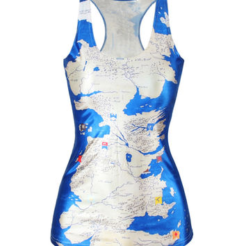 Stylish Beach Hot Bralette Comfortable Summer Sexy Strong Character Slim Innovative World Map Print Vest [6049154817]