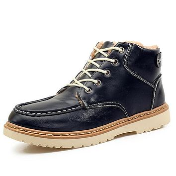 Winter leather Snow Boots Men Shoes Casual Warm Velvet Male Ankle Boot Patchwork Footwear