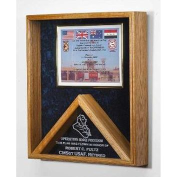 Military Medal and Flag Display Case - Shadow Box Hand Made By Veterans