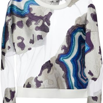 3.1 Phillip Lim Sheer Detail Cropped Sweatshirt