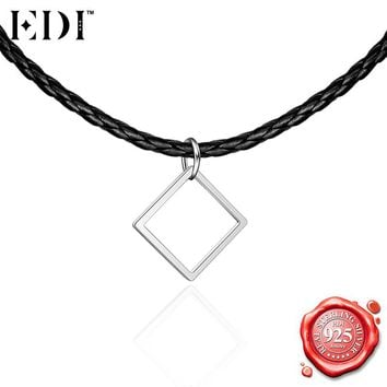 EDI Punk Silver Choker Necklace for Women 925 Sterling Silver Fashion Gothic Square Slide Pendant Adjustable Rope Chains Jewelry