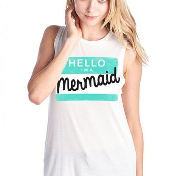 Graphic Muscle Tank - Mermaid Anonymous Muscle Tank in White