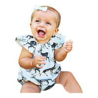 2016 Christmas Newborn Baby Bodysuits Elk Printed Baby Girls Clothing Toddler Infant One-piece Baby Clothes Summer Baby Outfits
