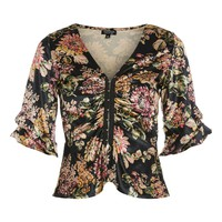 Velvet Hook and Eye Floral Print Top - New In Fashion - New In