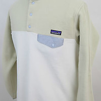 Womens Patagonia Synchilla Snap-T Beige Stone Lightweight Fleece Jacket XL NWT