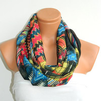 Aztec Scarf,Circle Scarf,Infinity Scarf,Loop Scarf,turquoise,yellow,black,red,chiffon fabric Scarf,Cowl Scarf,Nomad Cowl.Eternity Scarf
