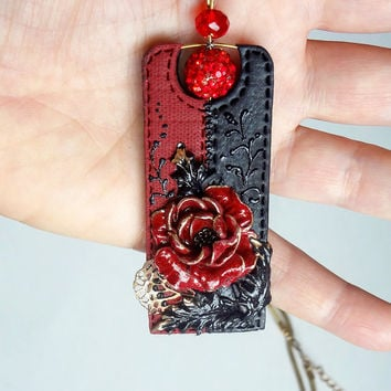 Flower pendant red wine and black necklace Deep red rose necklace Handmade jewelry Polymer clay red black gold symbol of love and beauty