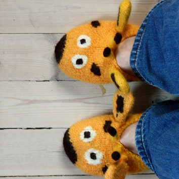 "Slippers ""GIRAFFE""  knitting pattern PDF download - suitable for beginners and advanced knitters"