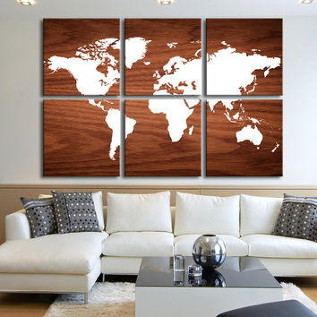 Canvas Art Print White WORLD MAP on Rustic Wood - 6 Panel Vintage World Map Canvas Art Print - Retro World Map