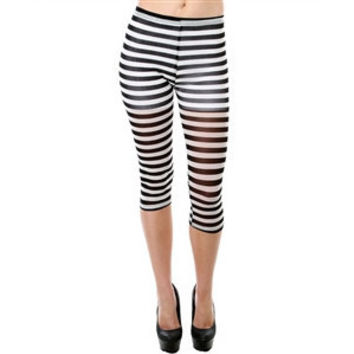 Stripe Sheer Capri Leggings