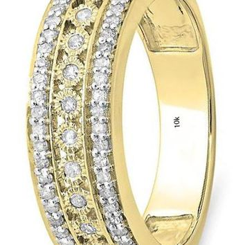 CERTIFIED 0.35 Carat (ctw) 10K Yellow Gold White Diamond Wedding Band Ring 1/3 CT