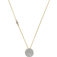Golden Pave Disc Pendant Necklace - Michael Kors