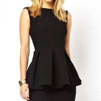 Ladylike Open Back Peplum Dress #Q229