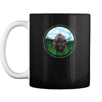 Highland Cow My Heart's In The Highlands Robert Burns Poem Mug