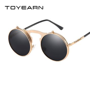 TOYEARN Vintage Round Steampunk Sunglasses Men Gothic Flip Up CIRCLE Sunglasses Women Retro Sun Glasses For Male Oculos de sol