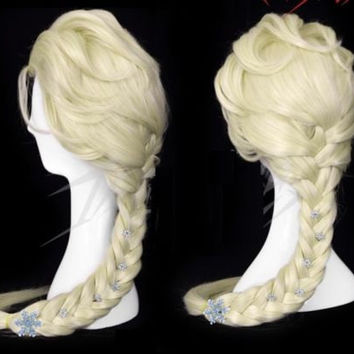 wg13 movie Frozen Elsa Custom Wig Cosplay Costume Snow Queen Anime with hairpins adult