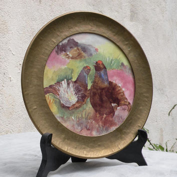 Vintage French chicken plate, chicken plate, decorative plate, french home decor, french ceramic french farmhouse, rustic plate cottage chic