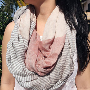 SALE-Pink/Grey Colorful Striped Infinity Scarf