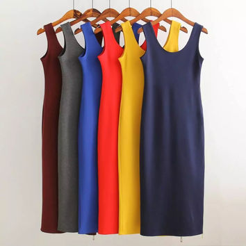 Summer Slim Stretch Zippers Vest Dress Prom Dress [6332320388]