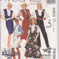 Sewing pattern for jumper with straight or full skirt, jumpsuit, and knee length romper misses size 6 8 10 McCalls 4909 UNCUT