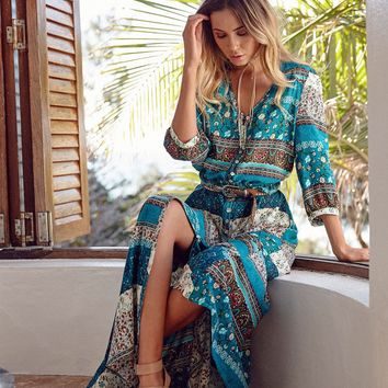 Bohemian Green Vintage Print V Neck Drawcord on Waist  Maxi Dress