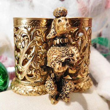 Stylebuilt Poodle Lipstick Holder Vintage Stylebuilt NY Frame Co 1950s 50s Mid Century Midcentury Gold Ormolu Filigree Triple Three Holder