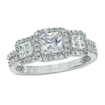 1 CT. T.W. Princess-Cut Diamond Past Present Future® Ring in 14K White Gold