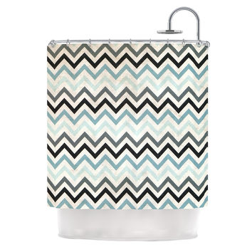 "Heidi Jennings ""Blue Chevron"" Gray Aqua Shower Curtain"