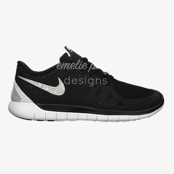 Nike Free Run 5.0 (Black) running shoes with Swarovski Crystals