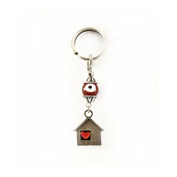 Evil eye keychain, evil eye keyring, red eye charm keychain, red glass eye bead