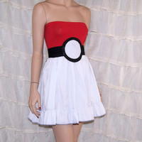 PokeBall Summer Tube Top Dress Cosplay Costume Adult Medium / Large MTCoffinz- Ready to Ship
