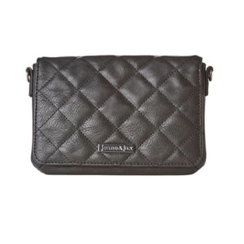 Vegan Quilted Mini Crossbody Purse - Black