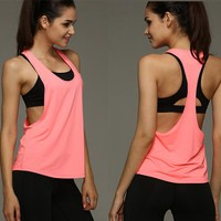 Women's Sports Vest professional quick-drying fitness Tank Top Active workout Yoga clothes T-shirt running Gym Jogging Vest