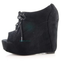 fia Black By Soda, Peep Toe Lace Up Platform Wedge Heel Booties