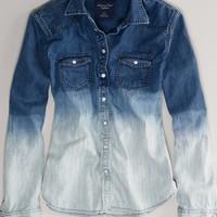 AEO 's Ombre Denim Western Shirt (Washed Blue)