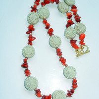 Orange Quartzite and Carved Cinnabar Beaded Necklace