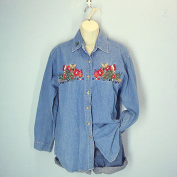 80s Denim Shirt, Cat Christmas Shirt, Ugly Christmas Shirt, Embroidered Denim Shirt, Slouchy Denim Blouse