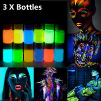 3pcs  Glowing Face Body Paint Glow In The Dark 12 Colors Lumious