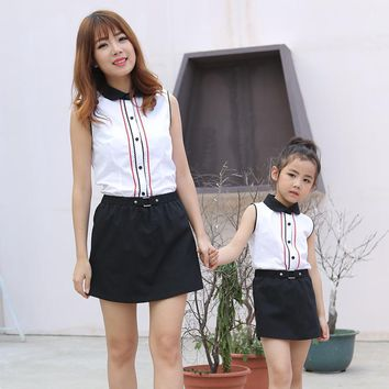 Family Matching Outfits 2017 summer new mother and daughter short-sleeved T-shirt skirt pants suit pro-loaded two-piece