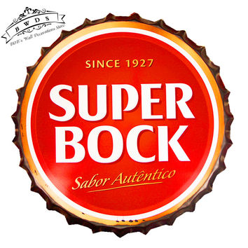 "Man Cave Vintage Round Tin Signs - ""SUPER BOCK Since 1927"" Beer Bottle Cap Bar Man Cave Home Decor Craft Wall Painting 42cm, RG-12 AWESOME VISUAL11"