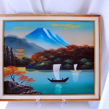 Mid Century Painting, Asian Silk Screen Wall Decor