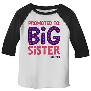 Shirts By Sarah Girl's Toddler Promoted To Big Sister EST. 2018 3/4 Sleeve Raglan