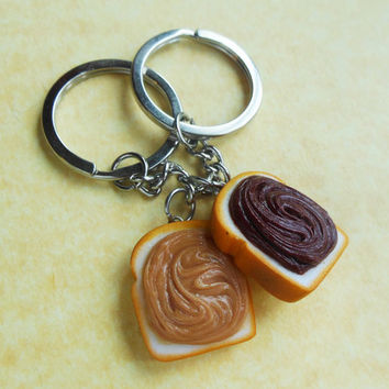 peanut butter and nutella keychains key rings best friend bff