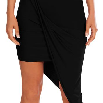 Banded High Waisted Skirt Draped