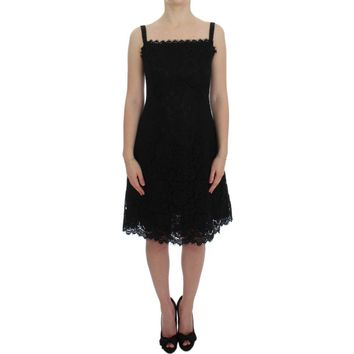Dolce & Gabbana Black Floral Lace Shift Knee Length Dress