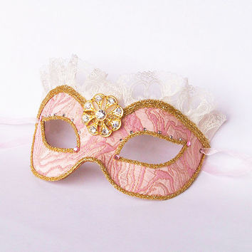 Brocade Covered Pink & Gold Masquerade Mask With Lace - Glittered Venetian Style New Year's Mask Decorated With Rhinestones And Gold Brooch