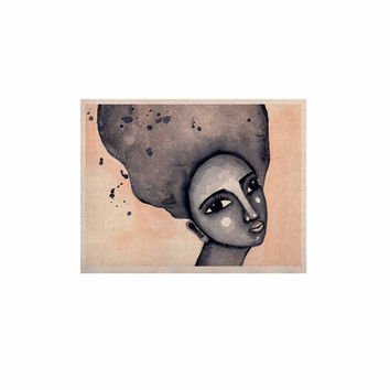 """Stacey-Ann Cole """"Yearning African American Art"""" Beige Black KESS Naturals Canvas (Frame not Included)"""