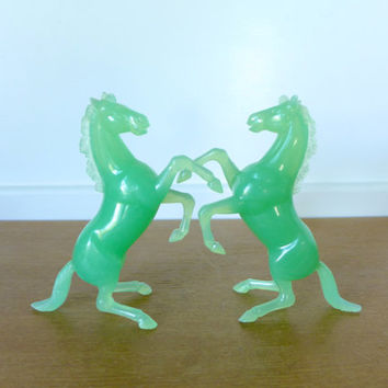 Jade green horses made in Hong Kong